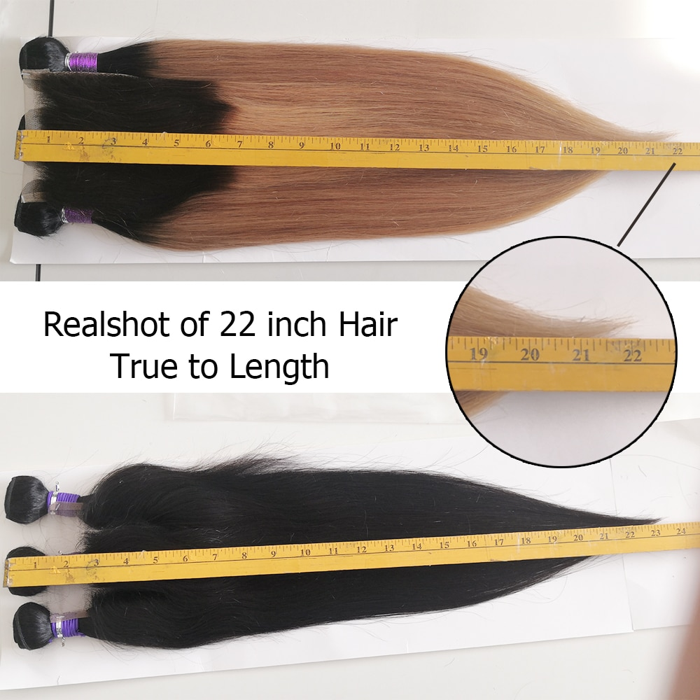 Mogul Hair 3 Bundles with Closure 200g/set Ombre Honey Blonde Black Straight Hair Weave 12-22 inch Remy Human Hair Extensions