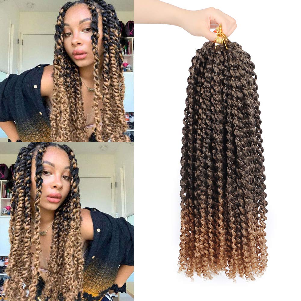 Dream Like Passion Twist Braid Extensions Pre-Looped Synthetic Brading Hair 18inch Water Wave Passion Twist Crochet Braid 1b
