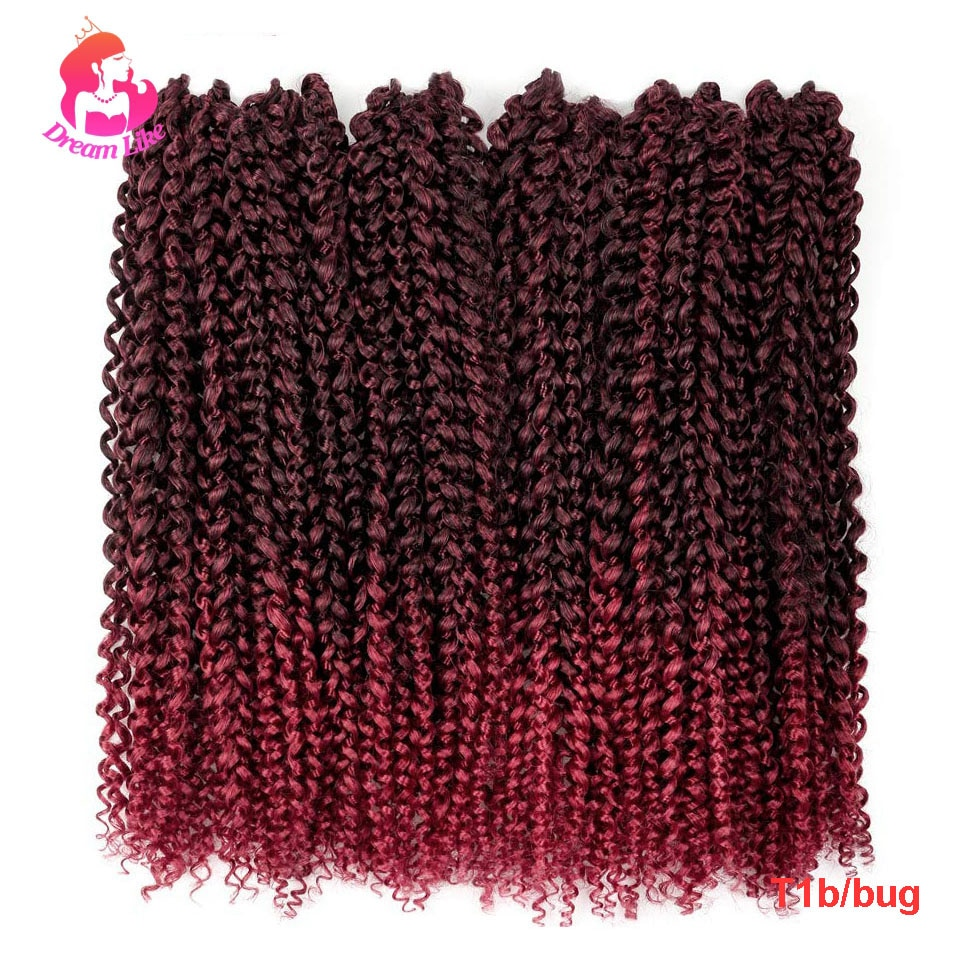 Dream Like African Passion Twist Hair Crochet Braid Extension 18inch Synthetic Water Wave Brading Hair Ombre/Black 22strands