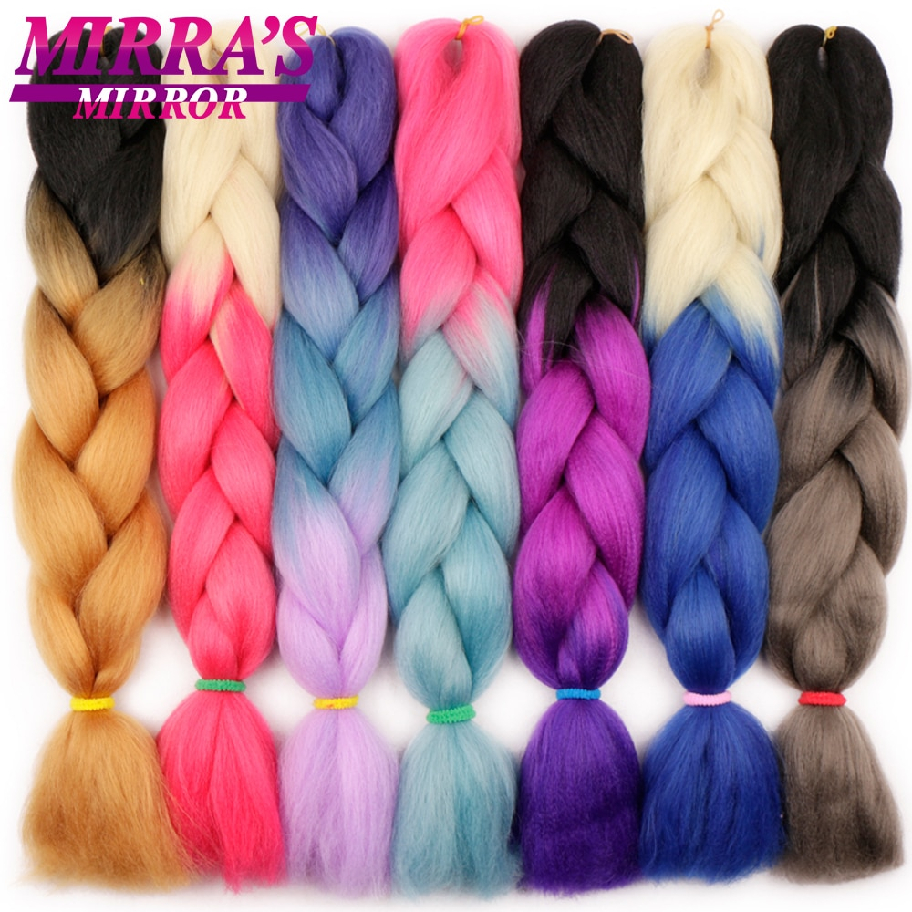 Mirra's Mirror 24inch Jumbo Hair For Braid Ombre Braiding Hair Extensions Synthetic Jumbo Braids Blonde Pink Golden Hair