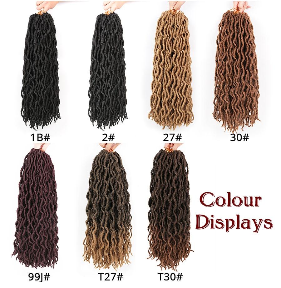 Leeons Wholesale Faux Locs Curly Crochet Braids Hair Extension 6pcs Synthetic Brading Hair Soft Dread Locks Goddess Crochet Locs