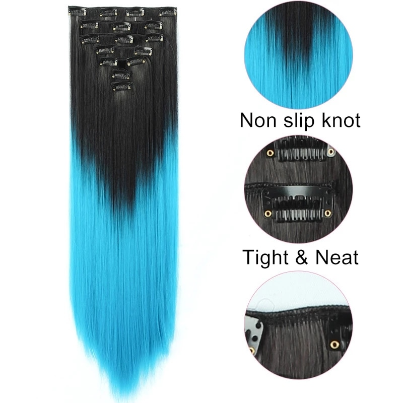 Kong&Li 7Pcs/Set 22inch 16 clips Long Straight Synthetic Hair Extensions Clips in High Temperature Fiber Black Brown Hairpiece