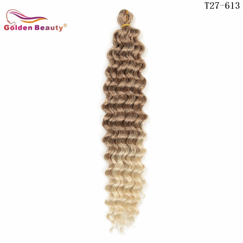 22inch 28inch Long Deep Wave Twist Crochet Hair Synthetic Braiding Hair Curly Wave Extensions For Black Women Golden Beauty