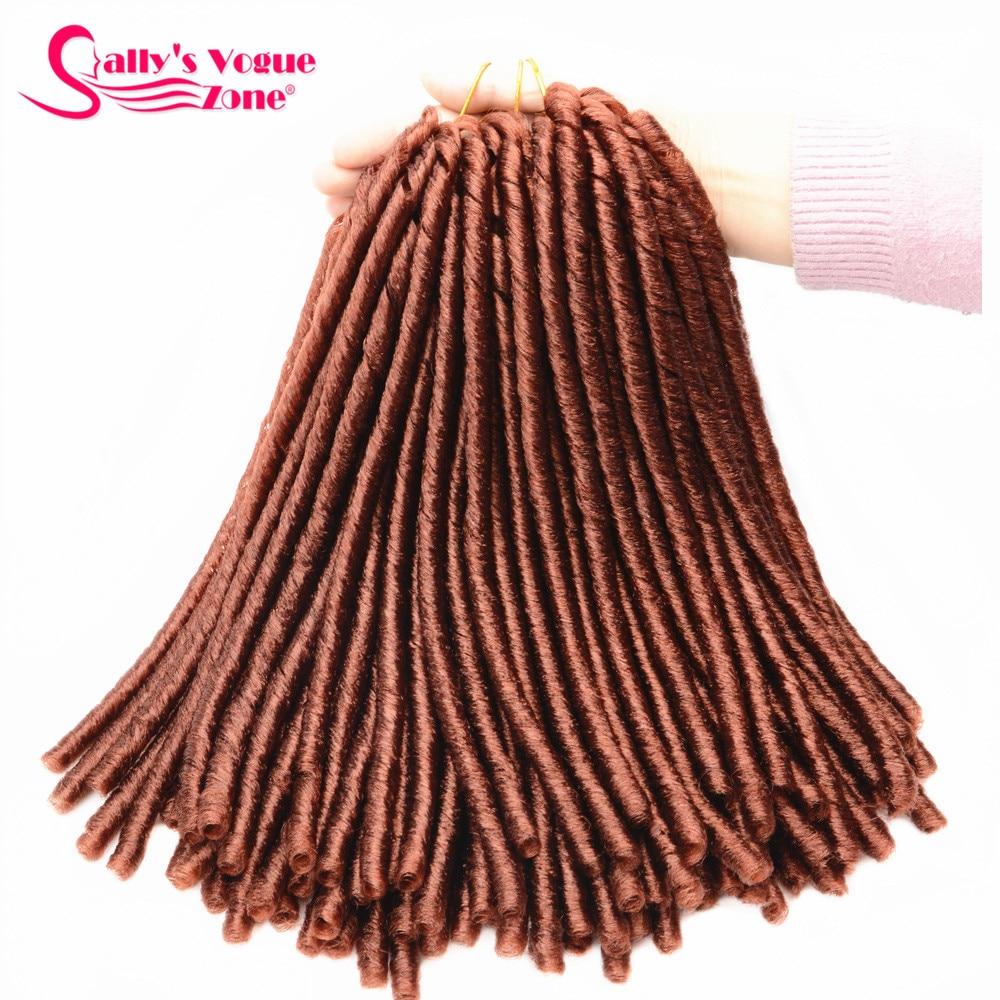 Sallyhair 14inch 70g/pack Faux Locs Synthetic Braiding Hair Extensions Afro Hairstyles Soft Dreadlock Brown Black Crochet Braids