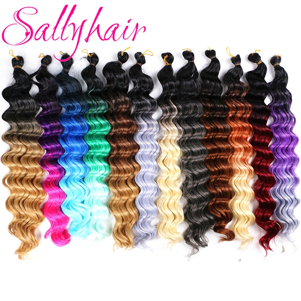 Sallyhair High Temperature Synthetic 12strands/pack Deep Wave Braiding Crochet Braids Blonde Grey Color Bulk Hair Extensions