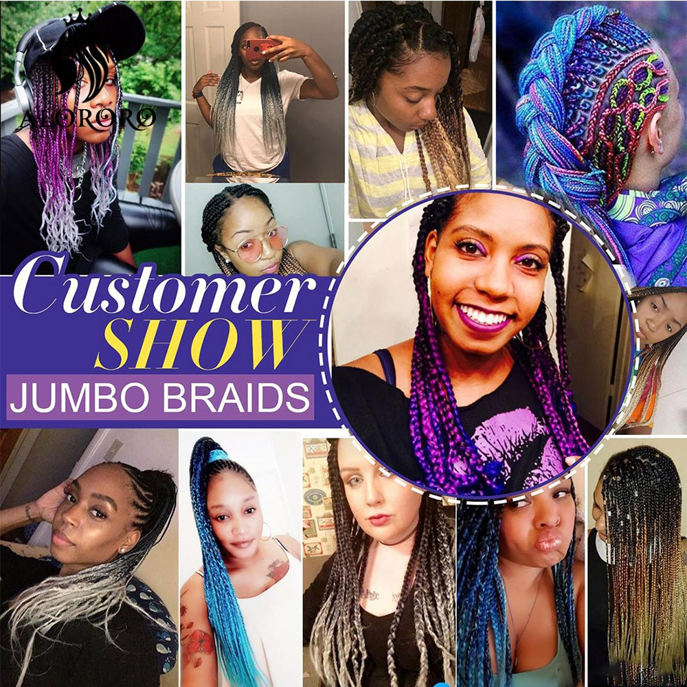 Alororo 35 Mixed Colors  Pre Stretched Braiding Hair Synthetic Hair Extension for Braids 24 Inches Profession Jumbo Braid Hair