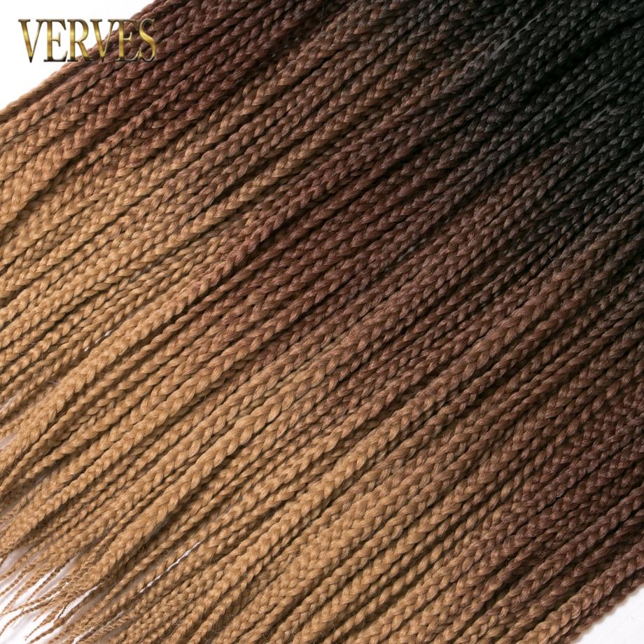 VERVES Crochet braids 24 inch box braid 22 Roots/pack Ombre Synthetic Braiding Hair extension Heat Fiber Bulk braid pink,black