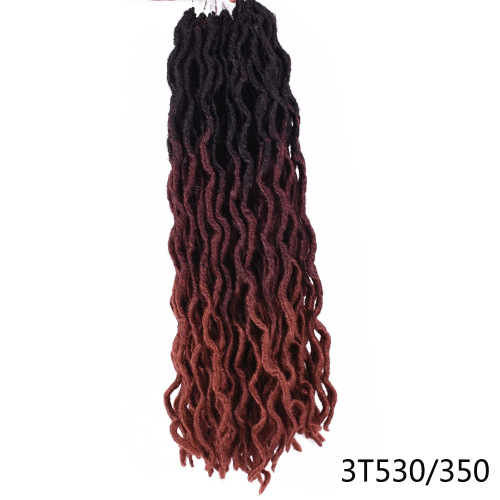 Goddess Nu Locs Soft Curly Faux Locs Crochet Hair Braids 18inch Synthetic Ombre Braiding Hair Extensions Pre Loop