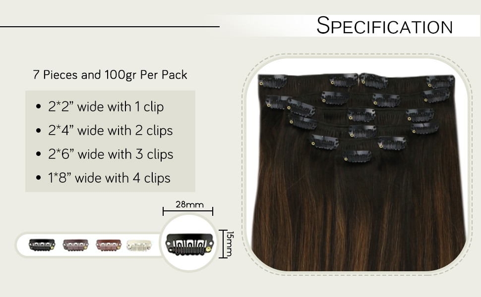 VeSunny Clip in Hair Extensions Human Hair Double Weft 7pcs Clip on Hair Extensions Machine made Remy Hair #2/2/6 120gr