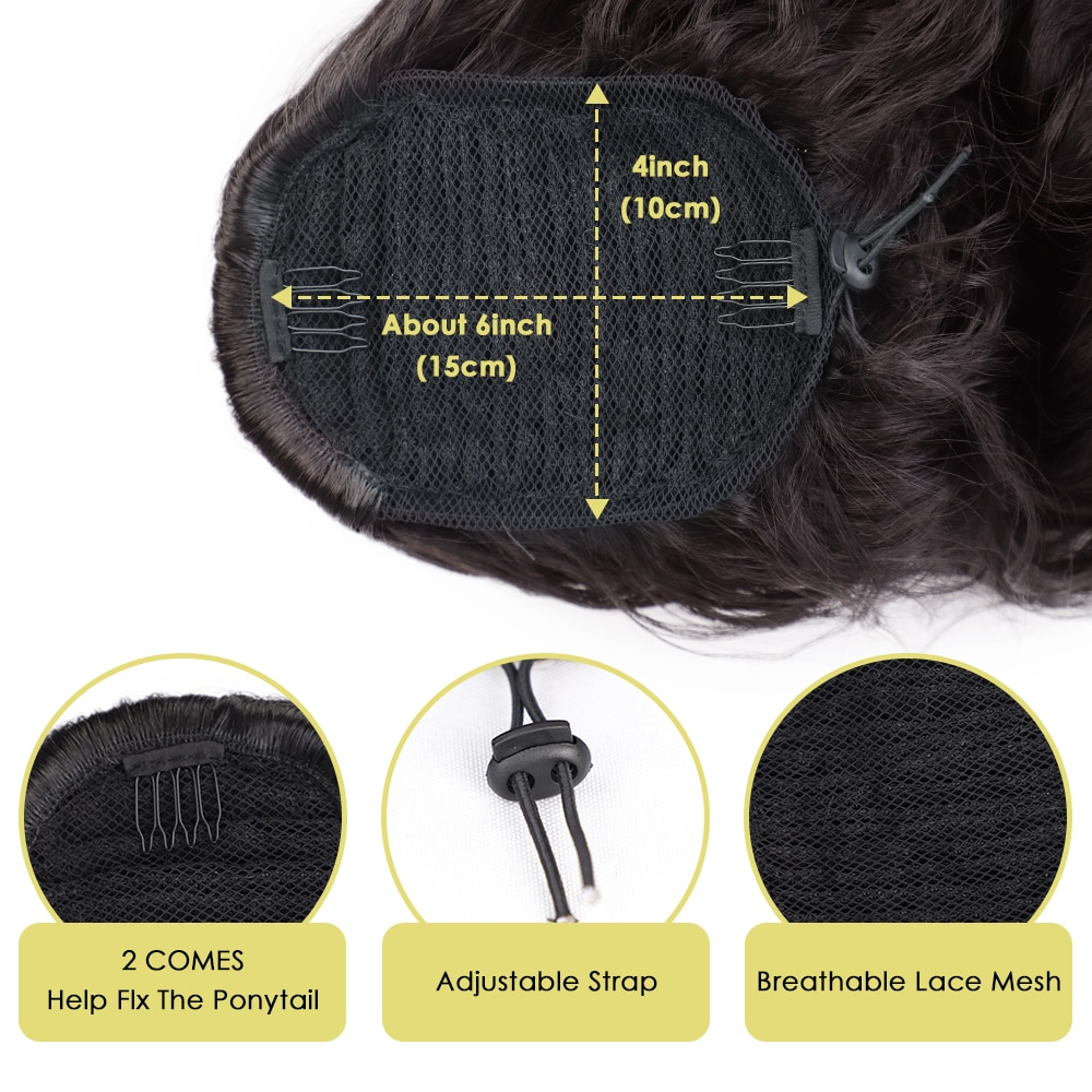 Vigorous Long Body Wavy Drawstring Ponytail  for Women Synthetic Wave Hair Extension Clip in Hairpiece Black Fake Hair