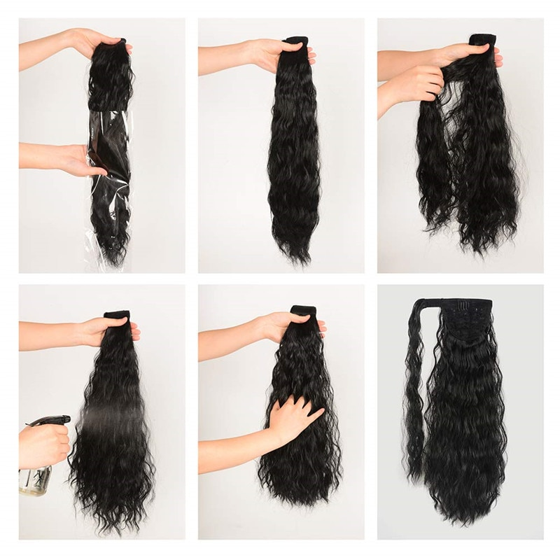 Long Curly Ponytail Natural hair extension Wrap On Clip Hair Ponytail Extensions for Women Blonde Black Horse Tail Synthetic