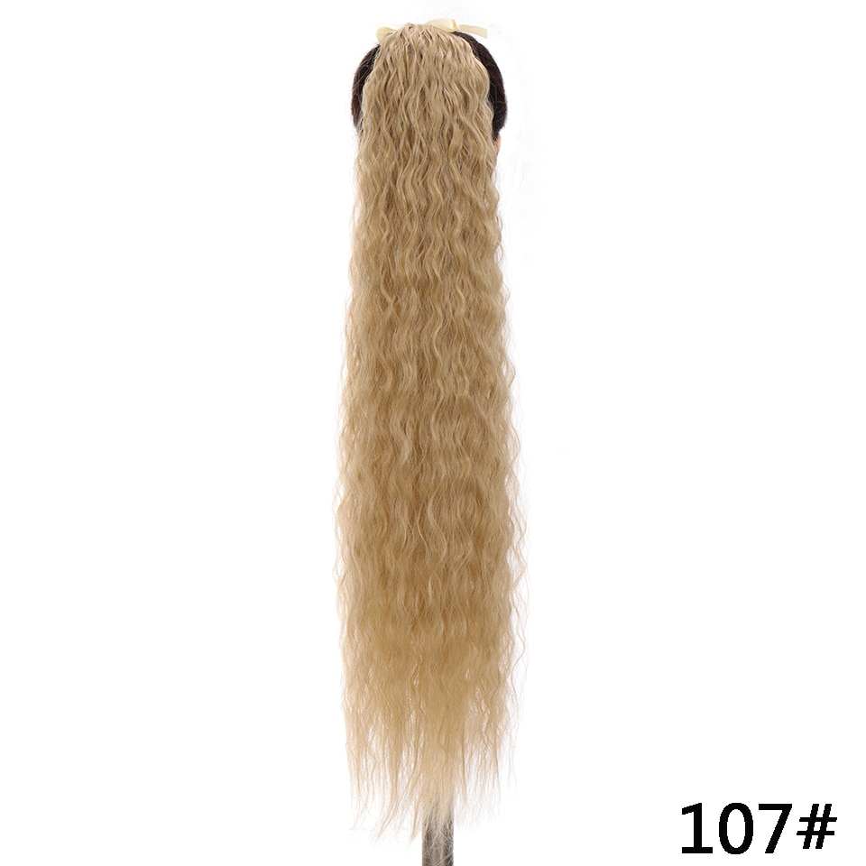 SHANGKE Women's Ponytail Long Wavy Hair Extension Clip In  Pony Tail Wrap Around Black Blonde Synthetic Heat Resistant Fiber