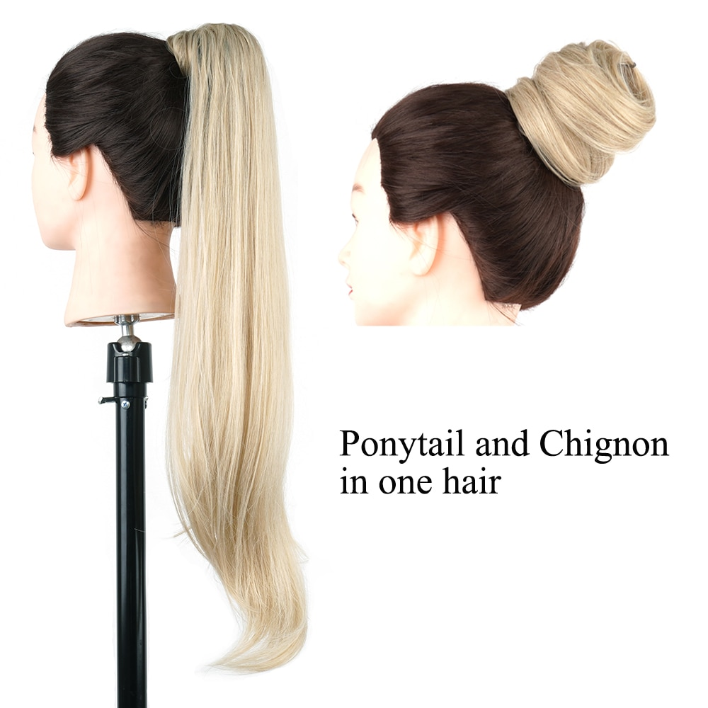 Soowee Long Layered Ponytail Synthetic Hair Extension Blonde Pony Tail Flexible Hair Ponytails Hairpieces