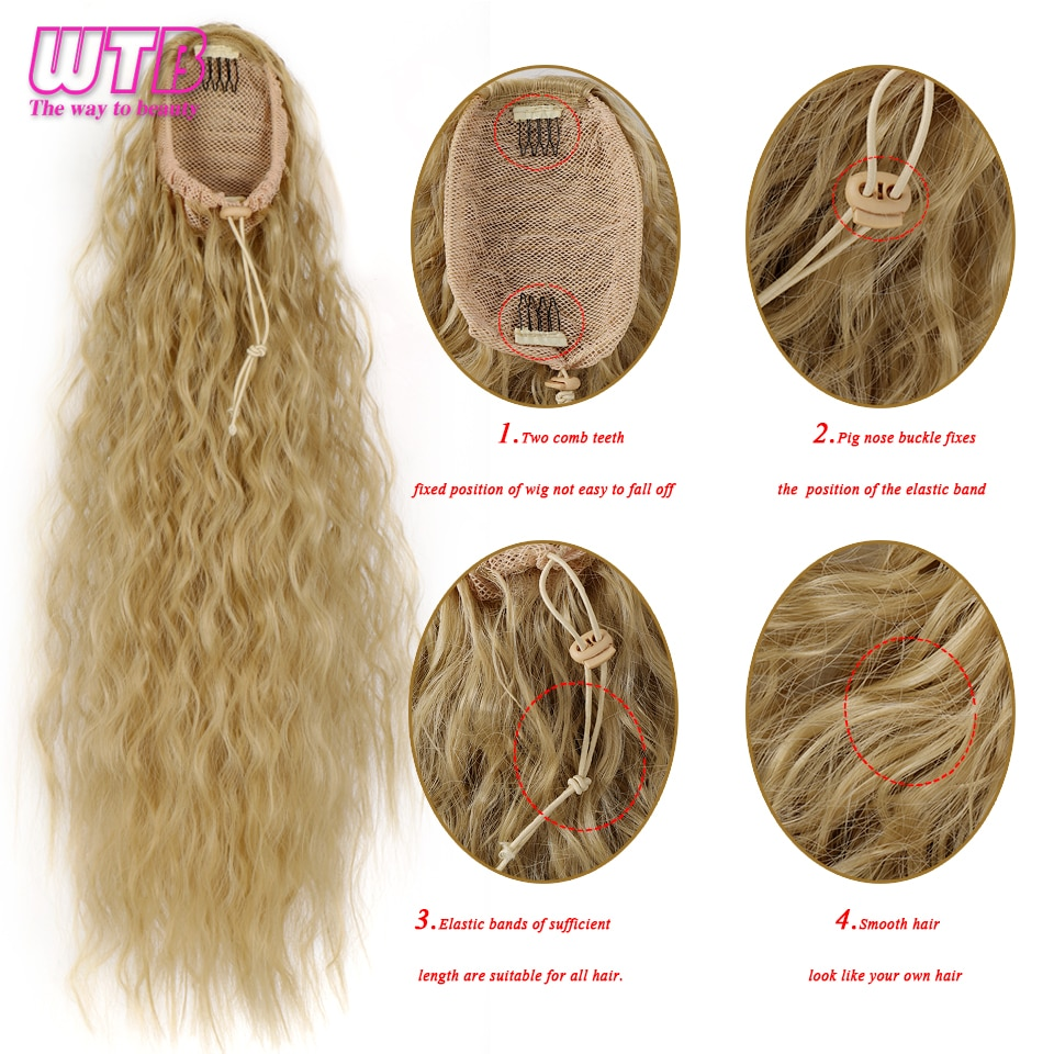 WTB Long Afro Kinky Curly Ponytail for Women Synthetic False Hair Drawstring Rubber Band Hairpieces with Hairpins Hair Extension