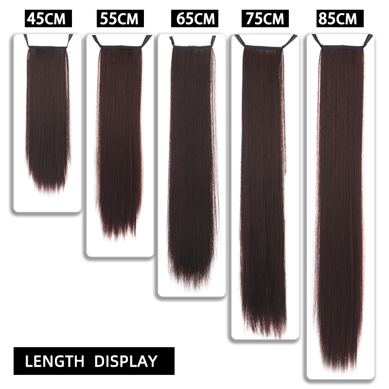 TALANG Long Straight Ponytail Hairpiece 85cm Female Clip Hair Tail False Hair With Hairpins Synthetic Hair Extensions