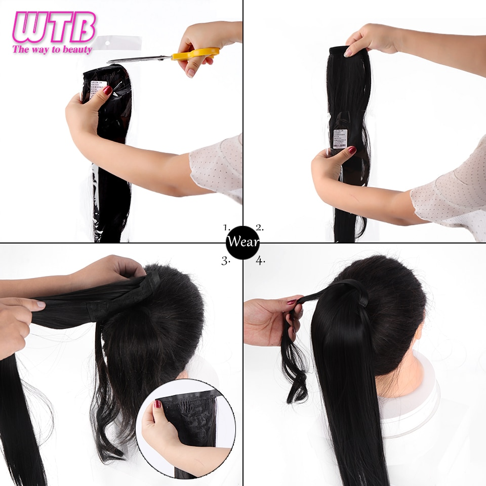 WTB Wrap Synthetic Ponytail Hair Extension Super Long Straight Women's Clip In Hair Extensions Pony Tail False Hair 32 Inch