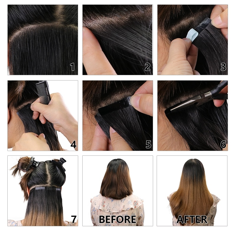 MRSHAIR 3x0.8 Inch Mini Tape In Hair 100% Human Hair Extensions Micro Interface Double Sided Seamless Adhesive Glue Blonde Brown