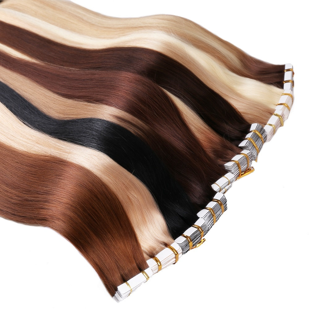 Human Hair Tape in Extensions 20pcs 40pcs Straight Skin Weft Remy Natural Hair 16 18 20 22 Inch Hair Extension Adhesivas
