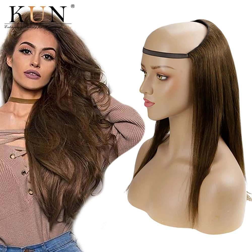 Half wig with clip in hair extension #4 light brown straight human hair u part wig 180% machine made wig for women u shape wig