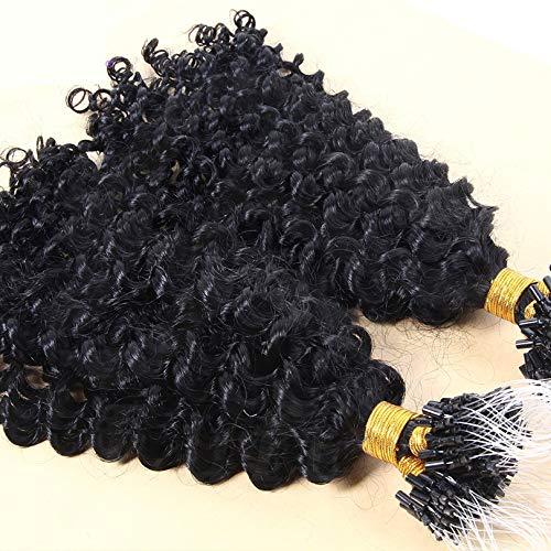 Loose Curly Micro Loop Human Hair Extensions Brazilian Remy Human Hair Micro Loop Ring 1g/strand 100g/set Natural Black Color