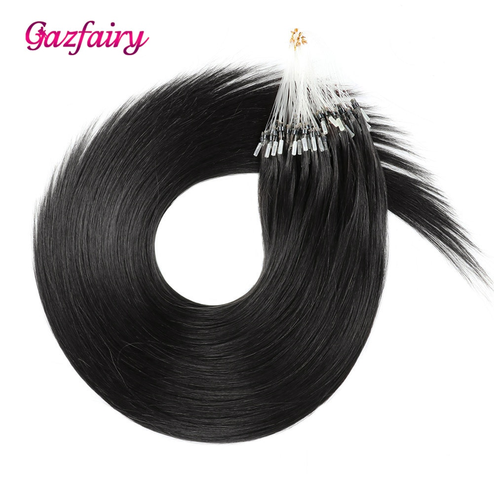 Gazfairy 1g/s 16'' 50g 80g Remy Micro Beads Hair Extensions In Micro Ring Links Real Human Hair Platinum Blonde Color Pure Color