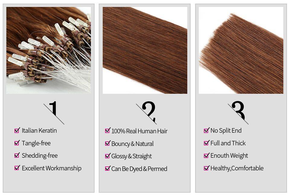 Gazfairy Loop Micro Ring Hair Extensions 16''-24'' 50g Silky Straight Human Micro Bead Links Real Remy Hair Italian Keratin