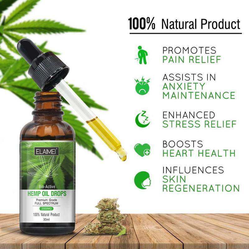 30ml 100% Organic Essential Oil Massage Hemp Seed Oil Sleep Help Relieve Oil Herbal Drops Care Body Stress Skin Z7V3