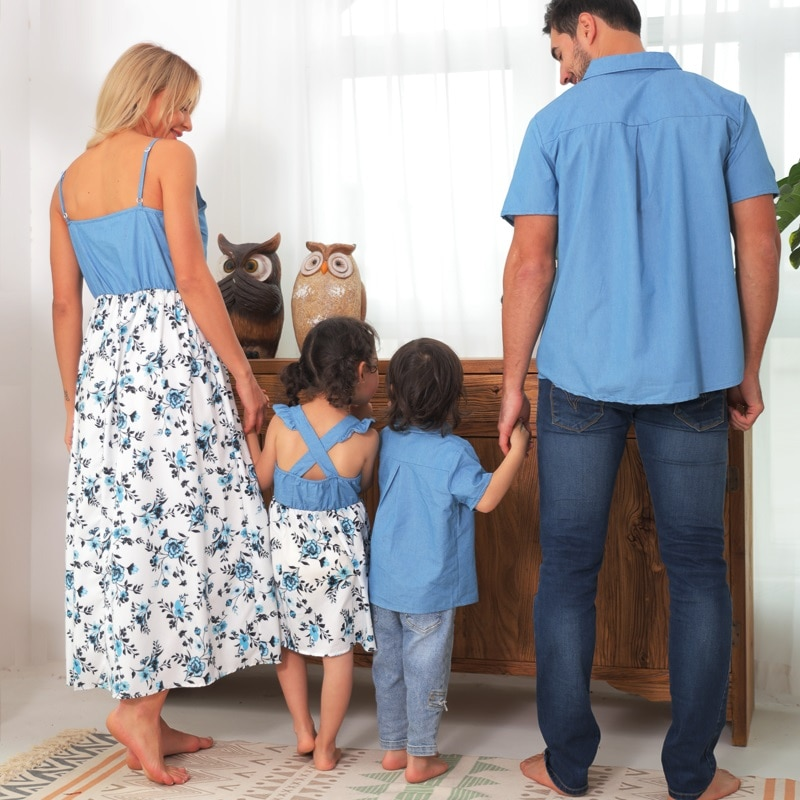 Family Matching Outfits Look Ruffled Mother Daughter Mom Mum & Baby Dresses Mommy and Me Clothes Short Sleeve Father Son Blouses