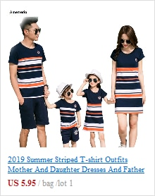 2020 Summer Striped T-shirt Outfits Mother And Daughter Dresses And Father Son Baby Boy Girl Family Matching Family Outfits