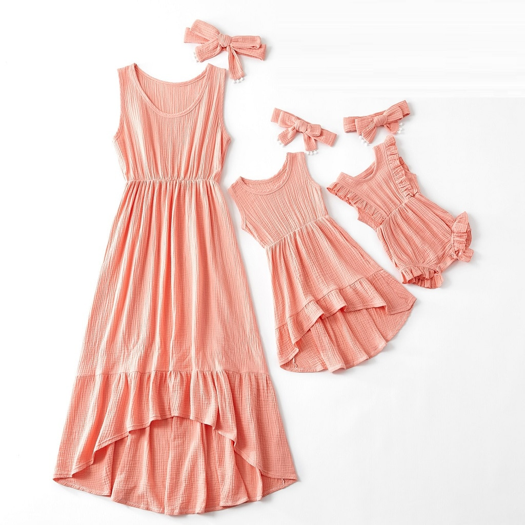 Sleeveless Mother Daughter Dresses Family Matching Outfits Look Mommy and Me Clothes Women Girls Mom Mum & Baby Dress Clothing