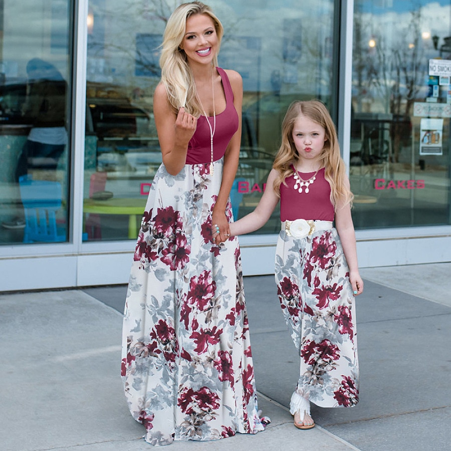 summer family matching dress Mommy and me mother daughter dresses clothes mom dress kids child outfits mum sister baby girl