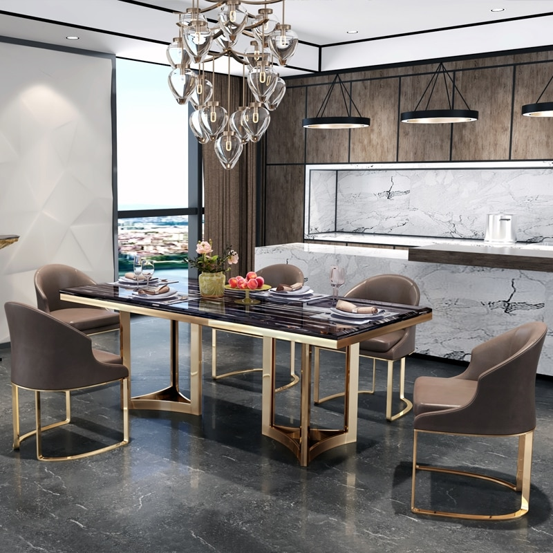 Italian Luxury Natural Marble Dining Table Electroplated Stainless Steel Metal Base Dining Table