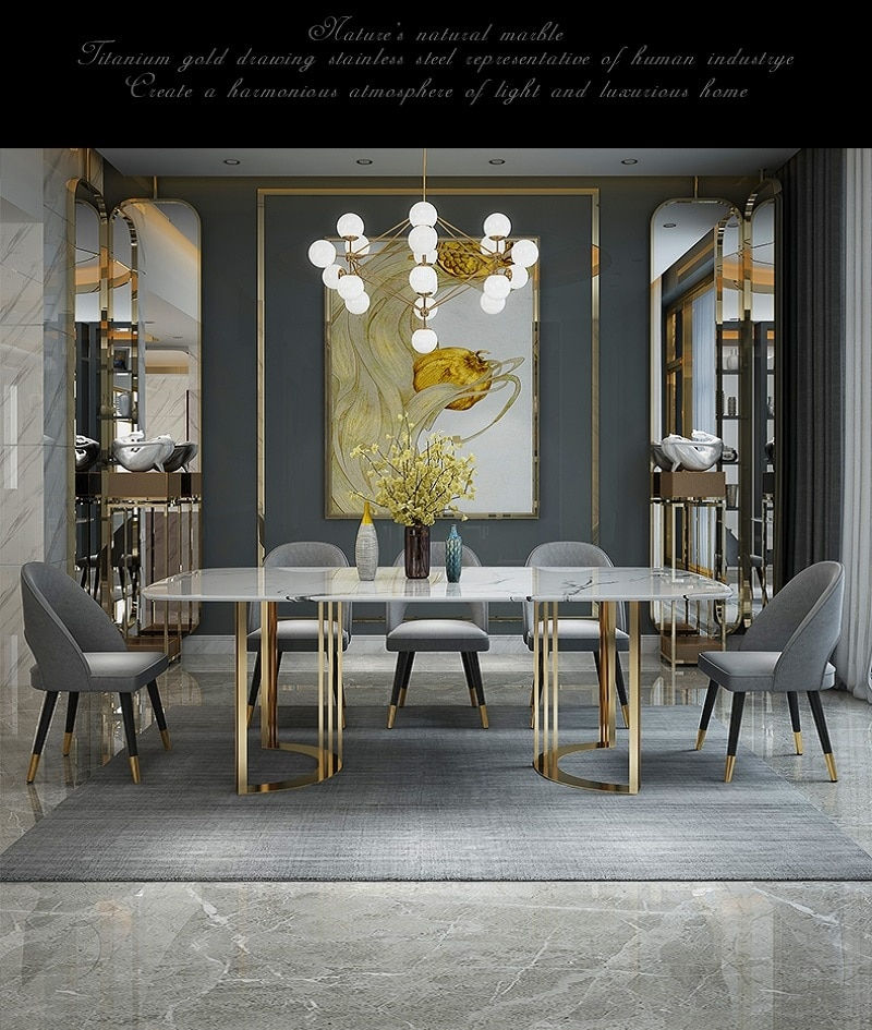 Luxury Modern Home Furniture Stainless Steel Faux Marble Top Room Dining Table
