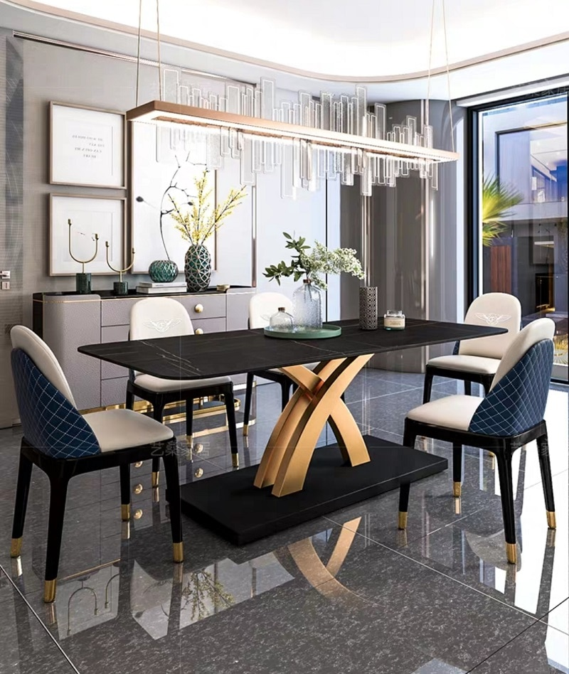 Luxury Design Dining Room Furniture Modern Dining Table Marble Top 8 seater