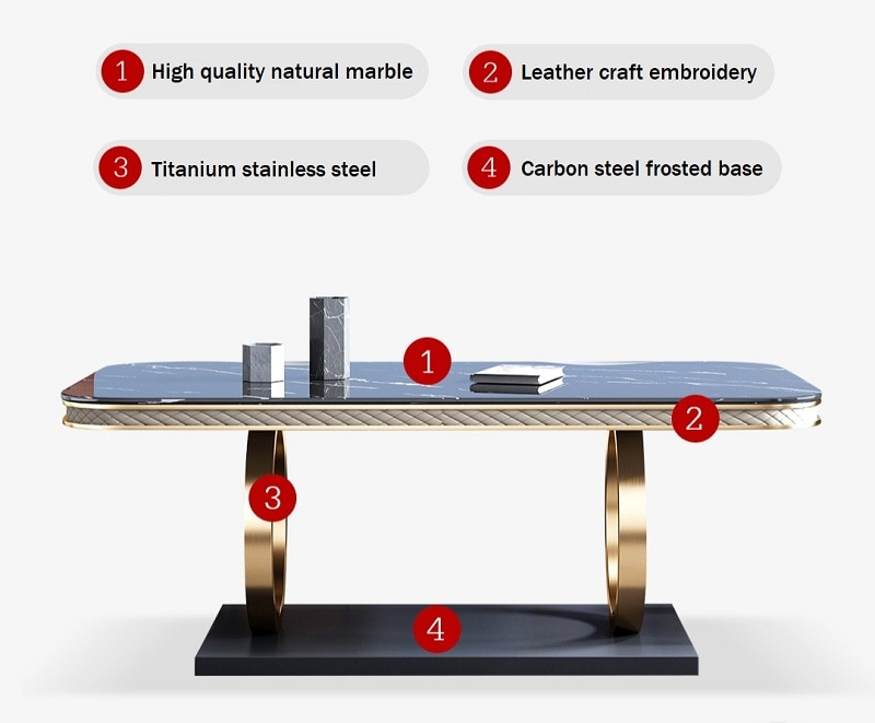 Italian Stainless Steel Wedding Dinning Tables Sets Luxury 6 chairs Modern Marble Dining Table Set