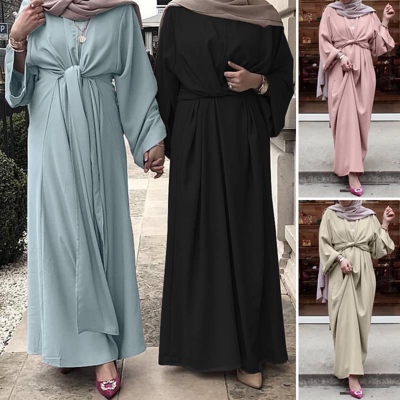 ZANZEA Muslim Dresses Eid Mubarak Kaftan Dubai Abaya Turkey Fashion Hijab Dress Islam Clothing Maxi Sundress For Women Vestidos