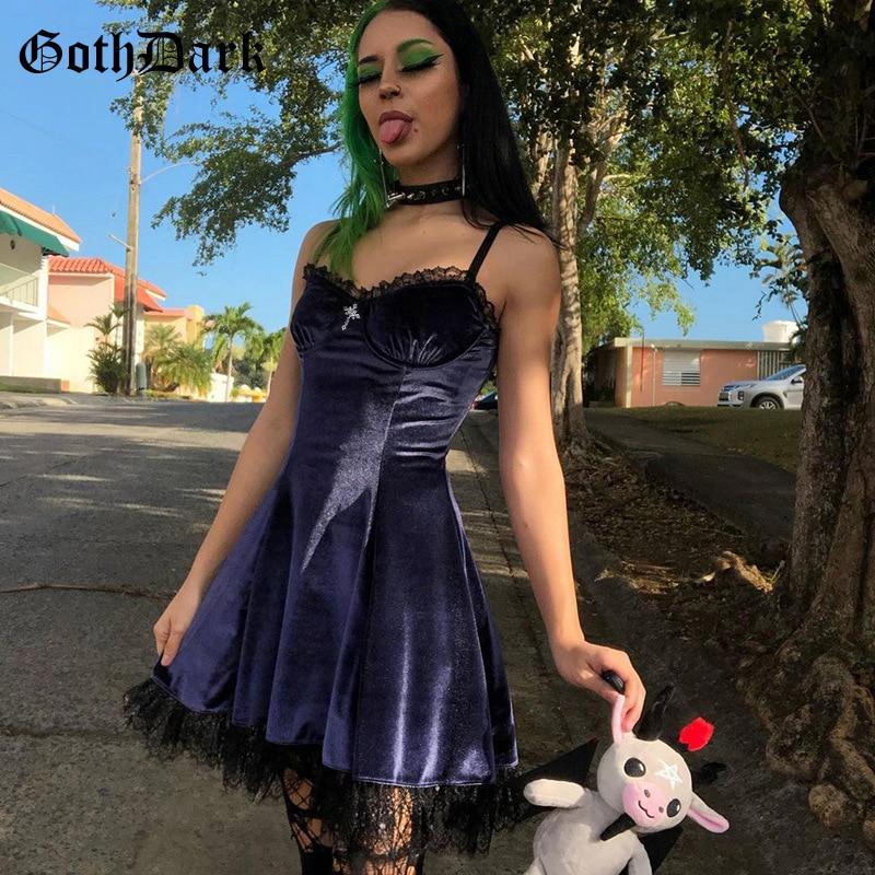 Goth Dark Mall Gothic Vintage Velvet Grunge Mini Dresses Women Punk Lace Trim Alt Clothes Summer Dress Bodycon A-Line Partywear