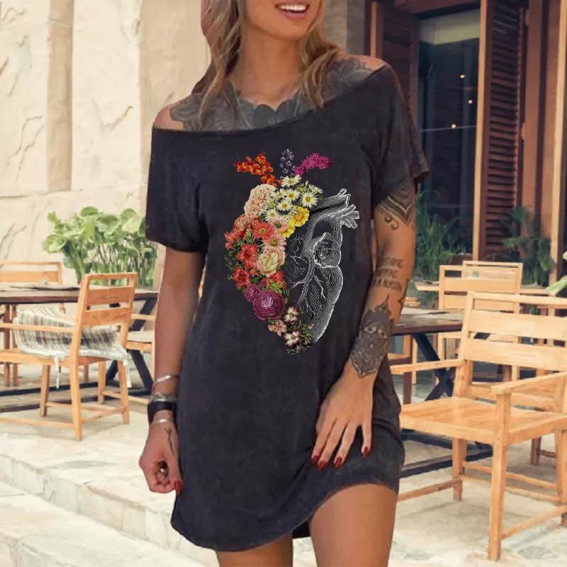 Summer Casual Black Color Vintage Print Women Dress Ladies Short Sleeve Off Shoulder Cotton Women Dress Plus Size Loose Dress