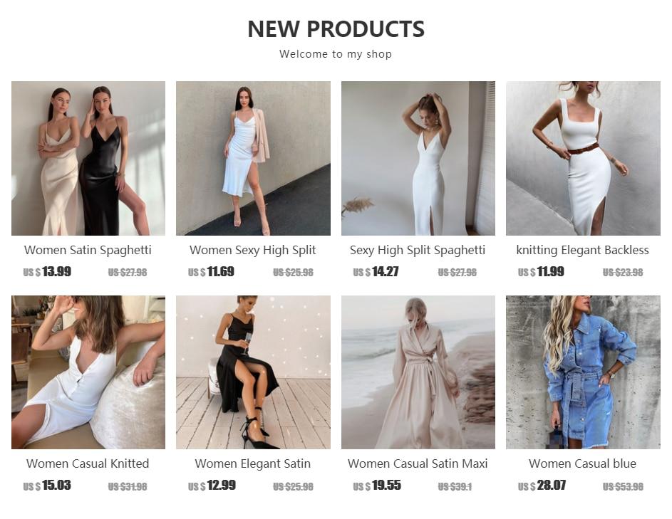 2021 Women Satin Deep V Neck Sexy Dress Solid Straight Pajamas Party Dress Elegant Female Summer Spaghetti Strap Dress Casual