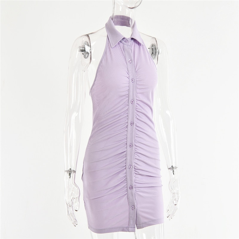 Fantoye Black Backless Halter Ruched Mini Dress Women 2021 Elegant Sleeveless Women Dress Skinny Spring Single Breasted Vestido