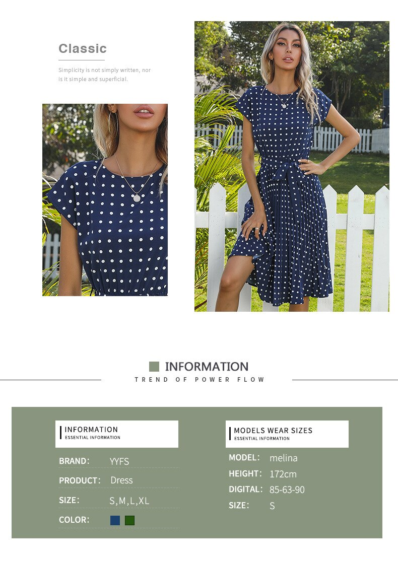 2021 New Summer Polka Dots Sleeveless Pleated Dresses For Women High Waist Midi Elegant Office Green Lady Dinner Party Clothes