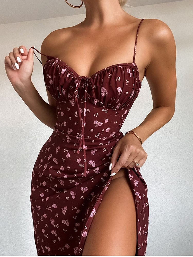Newasia Wine Floral Dress Women Prairie Chic Spaghetti Straps Backless Chest Draped Lace Up Side Split Sexy Long Dresses 2020