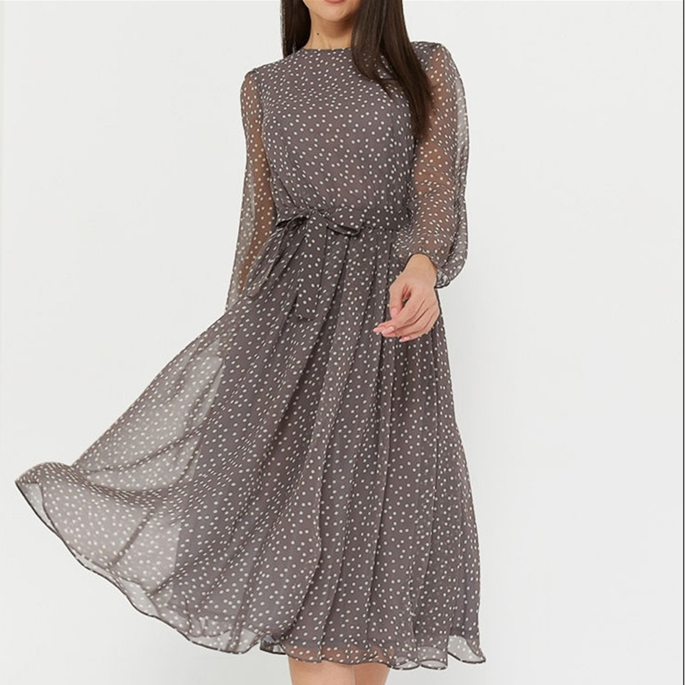 Polka Dot Print Women Elegant O-neck Lantern Sleeve Elastic Waist Shashes Slim A-line Party Dress Casual Simple Muslin Mid Dress
