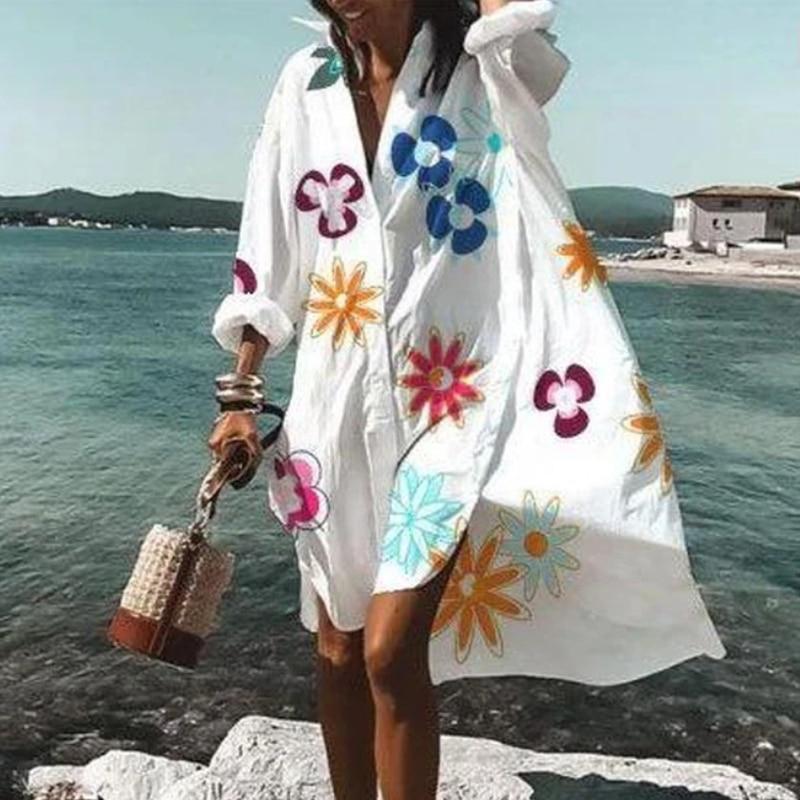 2021 Summer Women Dresses Turn-down Collar Print Casual Long Sleeve Shirt Dress Plus Size Loose Beach Party Vestidos Robe Blouse