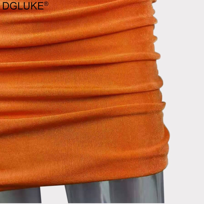 One Shoulder Sexy Mini Dresses For Women 2021 Summer Sleeveless Ruched Bodycon Dress Blue Orange Red Party Dress