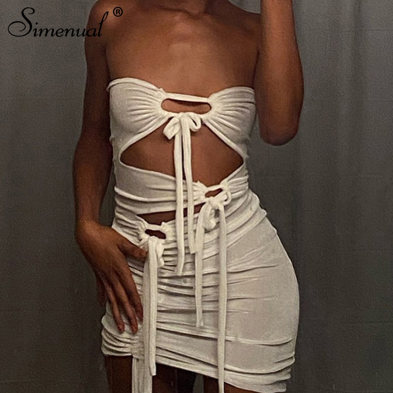 Simenual Tie Up Wrap Chest Cut Out Mini Dresses For Women White Midnight Clubwear Outfits Bodycon Summer Party Dress Fashion Hot