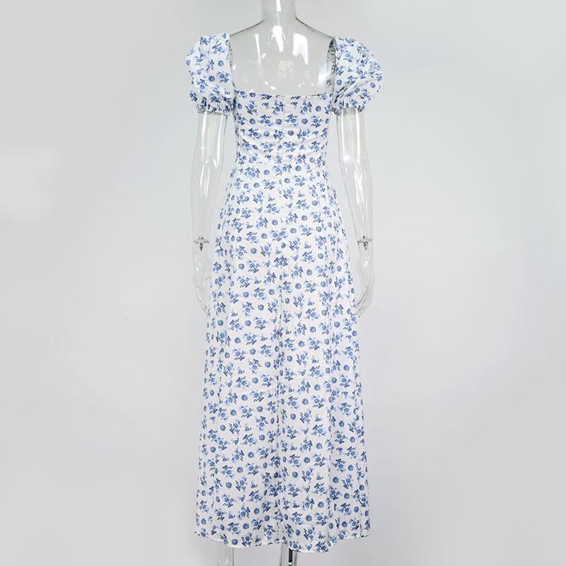 Summer Dress Women Short Puff Sleeve Flroal Printed Ruched Party High Split Long Maxi Dresses Drawstring Sexy Vestidos Sundress