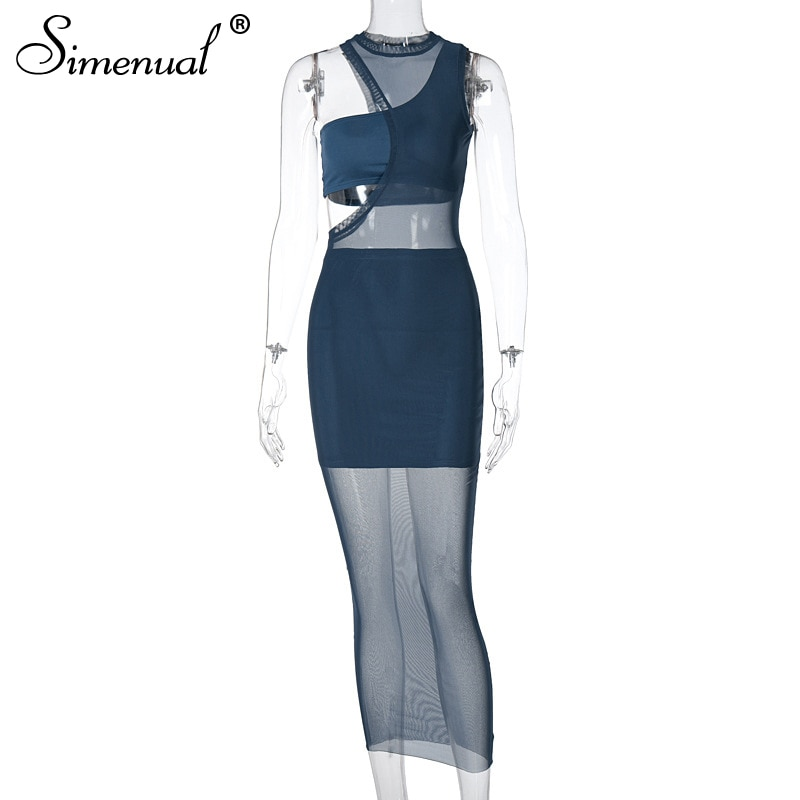 Simenual Mesh Sleeveless Three Piece Long Dresses Summer Holiday Birthday Outfits For Women Sexy See Through Bodycon Dress Party