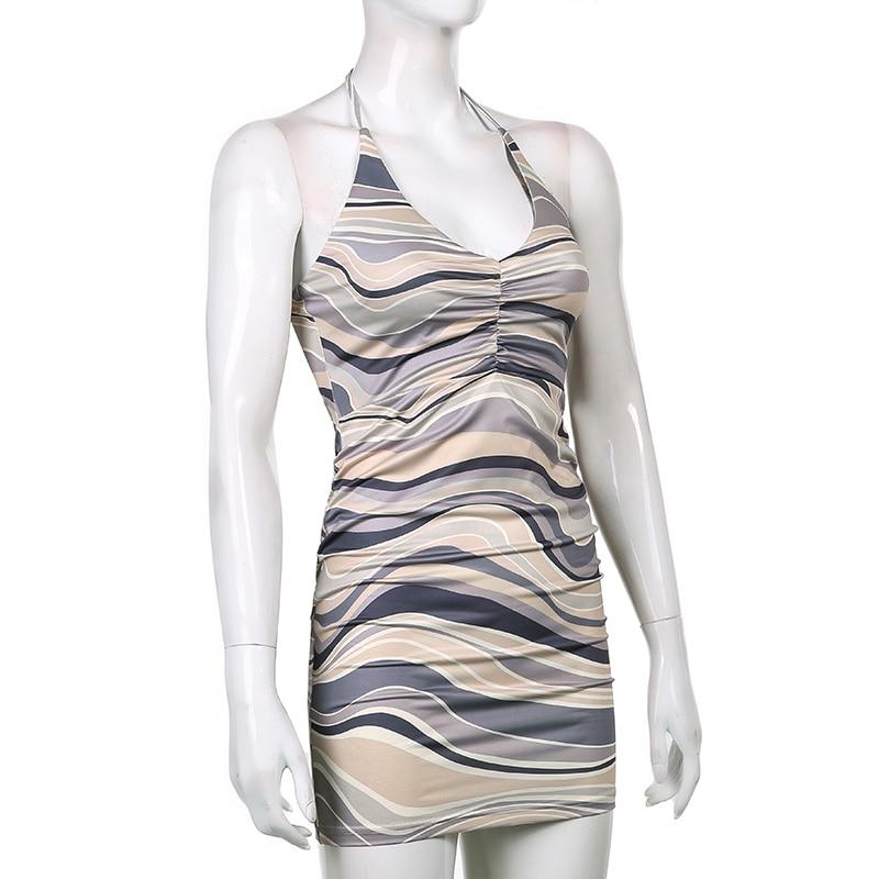HEYounGIRL V Neck Print Sexy Backless Bodycon Dress Party Sleeveless Summer Halter Mini Dresses Women Fashion Streetwear Elegant