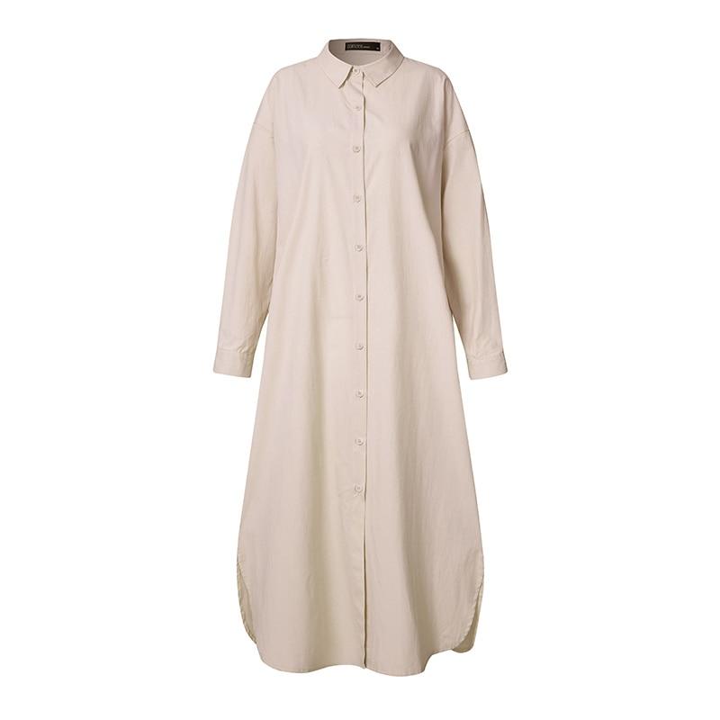 ZANZEA Plus Size Women Summer Sundress Elegant Long Shirt Dress Lapel Neck Long Sleeve Solid Vestido Casual Loose Work Dresses